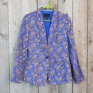 Banana blue Paisley linen blazer suit jacket 6